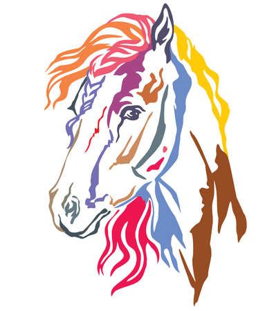 Colorful decorative portrait in profile of beautiful horse with long mane, vector illustration in different colors isolated on white background. Image for design and tattoo. Banque d'images - 112399728