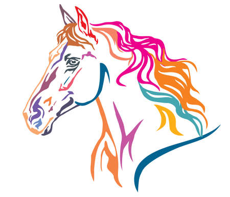 Colorful decorative portrait in profile of beautiful running horse with long mane, vector illustration in different colors isolated on white background. Image for design and tattoo.