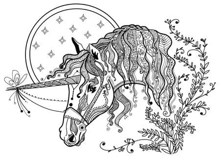 Vector hand drawing illustration unicorn in black color isolated on white background. Doodle unicorn illustration. Coloring fantasy Unicorn with elements.