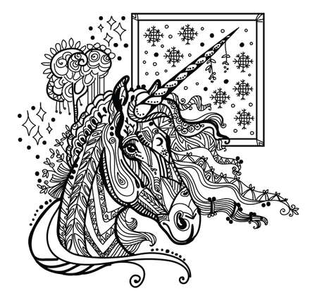 Vector hand drawing illustration unicorn in black color isolated on white background. Doodle unicorn illustration. Coloring fantasy Unicorn with elements.  イラスト・ベクター素材