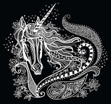 Vector hand drawing illustration unicorn in white color isolated on black background. Doodle unicorn illustration with plant elements. Coloring fantasy Unicorn with elements.