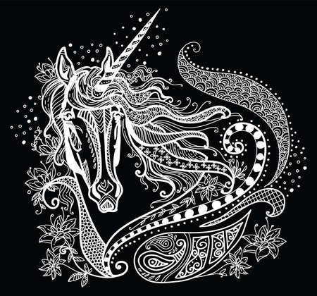 Wektor rysunek ilustracja jednorożca w kolorze białym na białym na czarnym tle. Doodle ilustracja jednorożca z elementami roślin. Kolorowanie fantasy jednorożec z elementami.