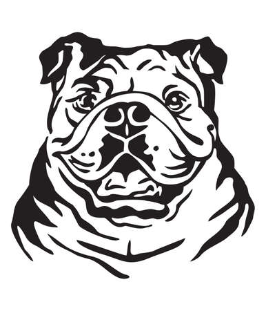 Decorative portrait of Dog Bulldog, vector isolated illustration in black color on white background. Image for design and tattoo.