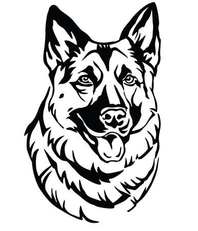 Decorative portrait of Dog German Shepherd, vector isolated illustration in black color on white background. Image for design and tattoo. 版權商用圖片 - 119455949