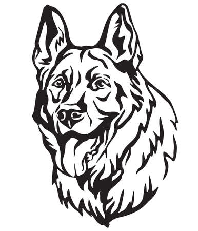 Decorative portrait of Dog German Shepherd, vector isolated illustration in black color on white background. Image for design and tattoo.