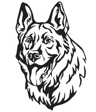 Dekoratives Porträt des Deutschen Schäferhundes, Vektor lokalisierte Illustration in der schwarzen Farbe auf weißem Hintergrund. Bild für Design und Tätowierung.