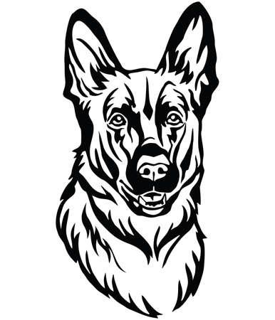 Retrato decorativo de perro pastor alemán, vector ilustración aislada en color negro sobre fondo blanco. Imagen para diseño y tatuaje.
