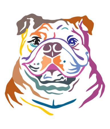 Buntes dekoratives Porträt der Hundebulldogge, Vektorillustration in den verschiedenen Farben lokalisiert auf weißem Hintergrund. Bild für Design und Tätowierung. Vektorgrafik