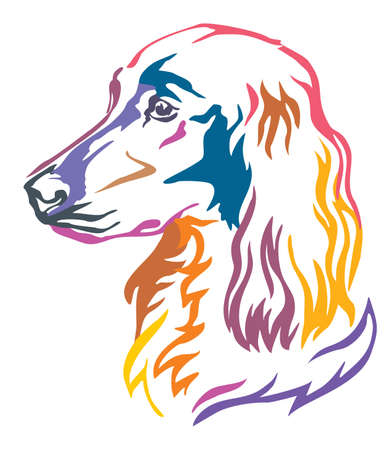 Colorful decorative portrait of Dog  Irish Setter, vector illustration in different colors isolated on white background. Image for design and tattoo.