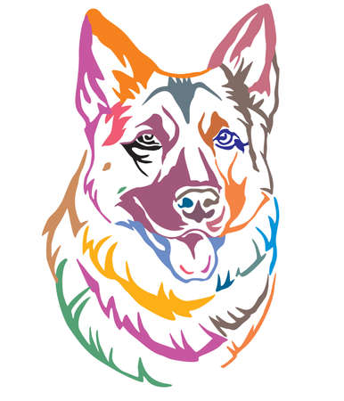 Colorful decorative portrait of Dog German Shepherd, vector illustration in different colors isolated on white background. Image for design and tattoo. Illustration