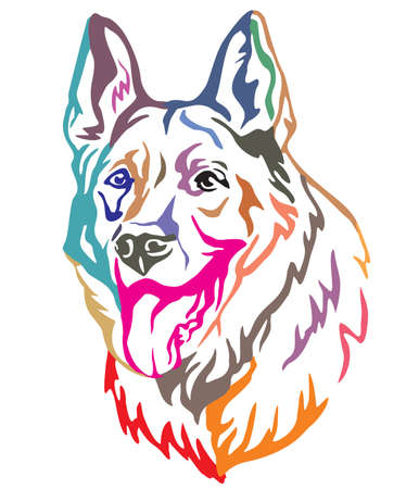 Colorful decorative portrait of Dog German Shepherd, vector illustration in different colors isolated on white background. Image for design and tattoo. Çizim
