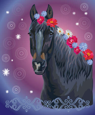 Vector colorful illustration. Portrait of horse with different flowers in mane isolated on purple gradient background with decorative ornament and circles. Image for art and design