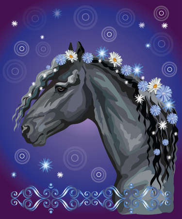 Vector colorful illustration. Portrait of black horse with different flowers in mane isolated on blue gradient background with decorative ornament and circles. Image for art and design