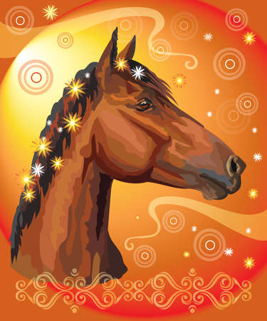 Vector colorful illustration. Portrait of bay horse with different flowers in mane isolated on orange gradient background with decorative ornament and circles. Image for art and design Illustration
