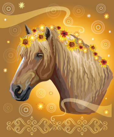 Vector colorful illustration. Portrait of horse with different flowers in mane isolated on mustard gradient background with decorative ornament and circles. Image for art and design