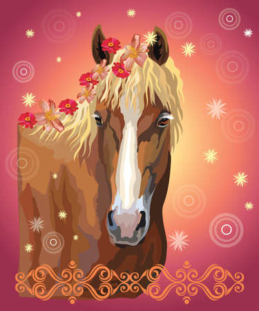 Vector colorful illustration. Portrait of horse with different flowers in mane isolated on pink gradient background with decorative ornament and circles. Image for art and design Çizim