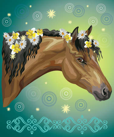 Vector colorful illustration. Portrait of horse with different flowers in mane isolated on turquoise gradient background with decorative ornament and circles. Image for art and design