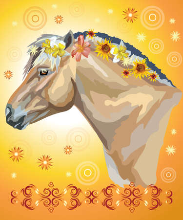 Vector colorful illustration. Portrait of  horse with different flowers in mane isolated on orange gradient background with decorative ornament and circles. Image for art and design