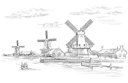 Disegno a mano vettoriale Illustrazione del mulino ad acqua ad Amsterdam (Paesi Bassi, Olanda). Punto di riferimento dell'Olanda. Illustrazione di disegno a mano di vettore in colore nero isolato su priorità bassa bianca.