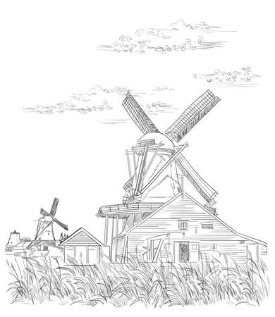 Vector hand drawing Illustration of watermill in Amsterdam (Netherlands, Holland). Landmark of Holland. Vector hand drawing illustration in black color isolated on white background. Ilustracja