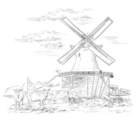 Vector hand drawing Illustration of watermill in Amsterdam (Netherlands, Holland). Landmark of Holland. Watermill and goats grazing on the pasture. Vector hand drawing illustration in black color isolated on white background. Illustration