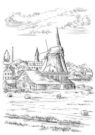 Vector hand drawing Illustration of watermill in Amsterdam (Netherlands, Holland). Landmark of Holland. Vector hand drawing illustration in black color isolated on white background. Иллюстрация