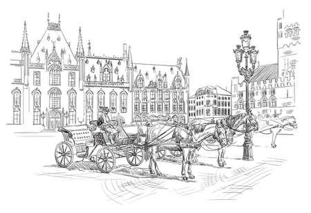 Uitzicht op de Grote Markt in de middeleeuwse stad Brugge, België. Oriëntatiepunt van België. Paarden, koetsen en lantaarns op het marktplein in Brugge. Vector hand tekenen illustratie in zwarte kleur geïsoleerd op een witte achtergrond.