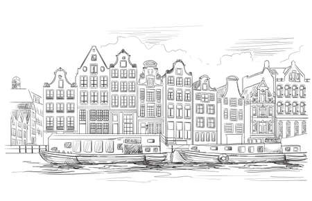 Houses on riverbank. Canal of Amsterdam, Netherlands. Landmark of Netherlands. Vector hand drawing illustration in black color isolated on white background. Иллюстрация