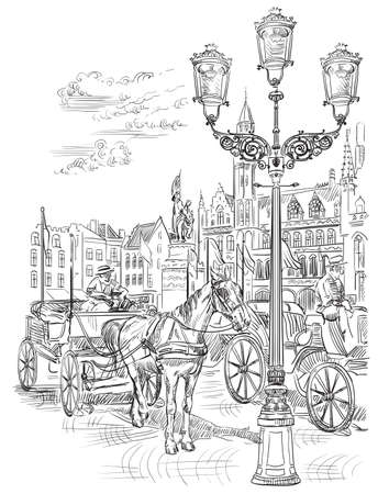 View on Grote Markt square in medieval city Bruges, Belgium. Landmark of Belgium. Horses, carriages and lanterns on market square in Bruges. Vector hand drawing illustration in black color isolated on white background.