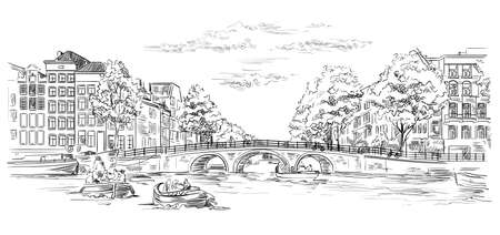 Bridge over the canals of Amsterdam, Netherlands. Landmark of Netherlands. Vector hand drawing illustration in black color isolated on white background.