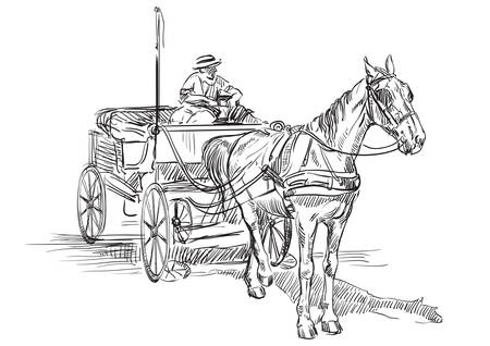 Vector hand drawing Illustration horse-drawn carriage with coachman. Monochrome vector hand drawing sketch illustration in black color isolated on white background.