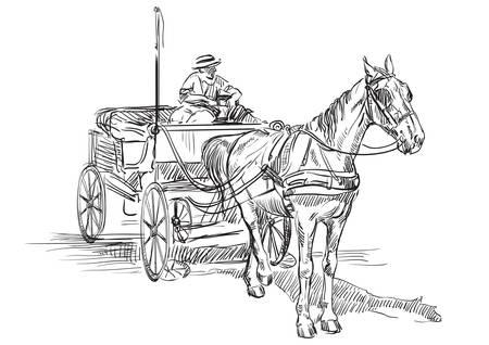 Vektorhandzeichnung Illustration Pferdekutsche mit Kutscher. Monochrome Handzeichnung Skizze Vektorgrafik in schwarzer Farbe auf weißem Hintergrund.