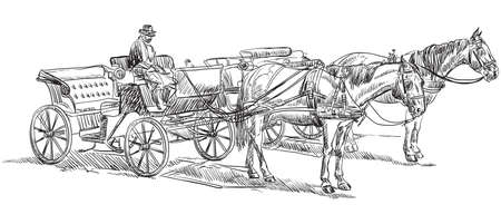 Vector hand drawing Illustration horse-drawn carriages with coachman. Monochrome vector hand drawing sketch illustration in black color isolated on white background.