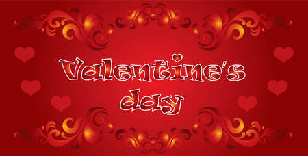 Vector illustration Happy Valentines day. Valentines banner with red hearts, decorative ornament on red gradient background.