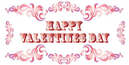 Ilustración vectorial Feliz día de San Valentín. Banner de San Valentín con adornos decorativos degradados sobre fondo blanco.