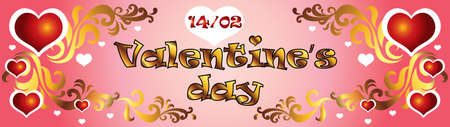 Vector illustration Happy Valentines day. Valentines banner with red and white hearts and golden decorative ornament on pink gradient background.