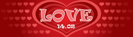 Vector illustration Happy Valentines day. Valentines banner with red and pink hearts on red gradient background. Ilustración de vector