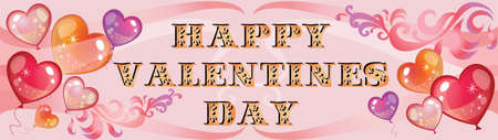 Vector illustration Happy Valentines day. Valentines banner with red hearts, colorful balloons and decorative gradient ornament on pink background. Ilustración de vector