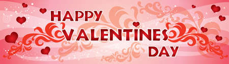 Vector illustration Happy Valentines day. Valentines banner with red hearts, sparks and decorative ornament on pink gradient background. Ilustración de vector