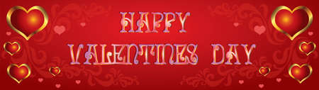 Vector illustration Happy Valentines day. Valentines banner with red and gold hearts, decorative ornament on red gradient background.