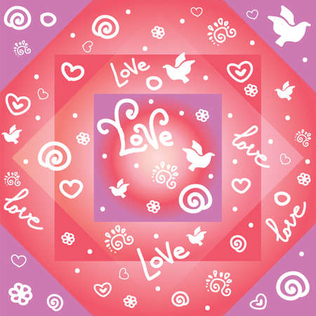Bunte Illustration des Vektors. Nahtloses Muster mit weißen Konturformen Taube, Liebe, Herzen, Blume, Lockenelemente einzeln auf buntem geometrischem Hintergrund. Bild für Kunst und Design. Valentinstag.