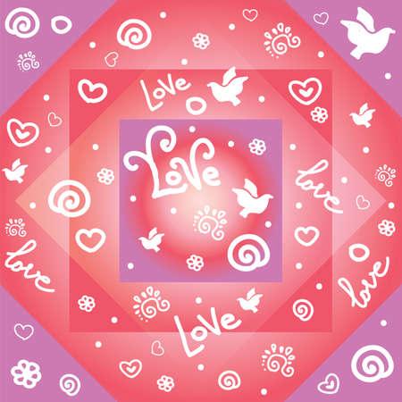 Kleurrijke vectorillustratie. Naadloze patroon met witte contour vormen duif, liefde, harten, bloem, curl elementen geïsoleerd op kleurrijke geometrische achtergrond. Afbeelding voor kunst en design. Valentijnsdag.