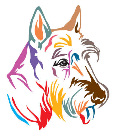 Colorful decorative outline portrait of Dog Scottish Terrier looking in profile, vector illustration in different colors isolated on white background. Image for design and tattoo.
