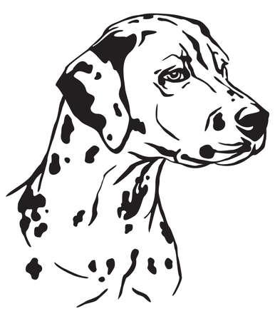 Retrato de contorno decorativo de perro dálmata de perfil, ilustración vectorial en color negro aislado sobre fondo blanco. Imagen para diseño y tatuaje.