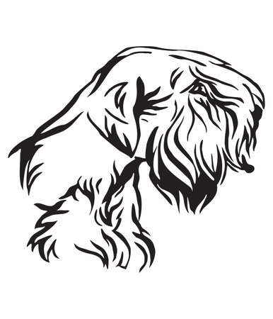 Decorative outline portrait of Dog Sealyham Terrier looking in profile, vector illustration in black color isolated on white background. Image for design and tattoo.