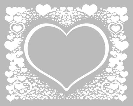 Abstract background with hearts. Vector illustration romantic frame. Valentines banner with white hearts on grey background. Vector postcard for celebration.