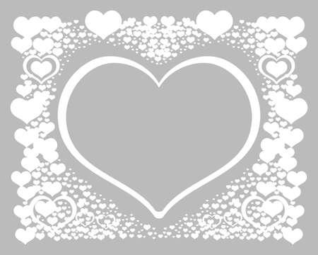 Abstrakter Hintergrund mit Herzen. Romantischer Rahmen der Vektorillustration. Valentinsgrußbanner mit weißen Herzen auf grauem Hintergrund. Vektorpostkarte zum Feiern.