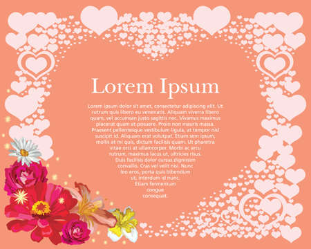 Abstract background with hearts. Vector illustration romantic frame. Valentines banner with flowers, sparks and hearts on pink background. Vector postcard for celebration. Ilustración de vector