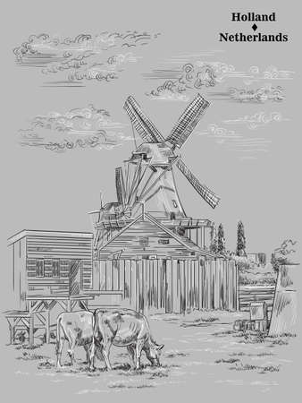 Vector hand drawing illustration of watermills in Holland, Netherlands. Watermill and cows grazing on the meadow. Vector sketch hand drawing illustration in black and white colors isolated on grey bac  イラスト・ベクター素材