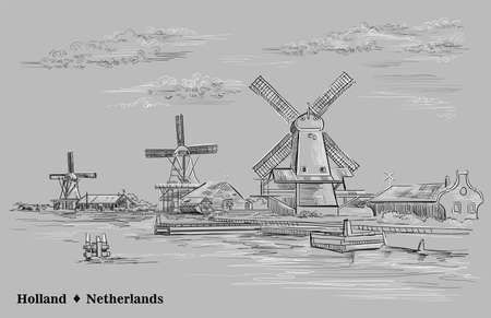 Vector hand drawing illustration of watermills in Holland, Netherlands. View on embankment, pier and watermills. Vector sketch hand drawing illustration in black and white colors isolated on grey back